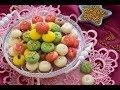 الحلويات مع عبير - طريقة عمل الغريبه الملونه بالفستق و الشيكولاته ج1