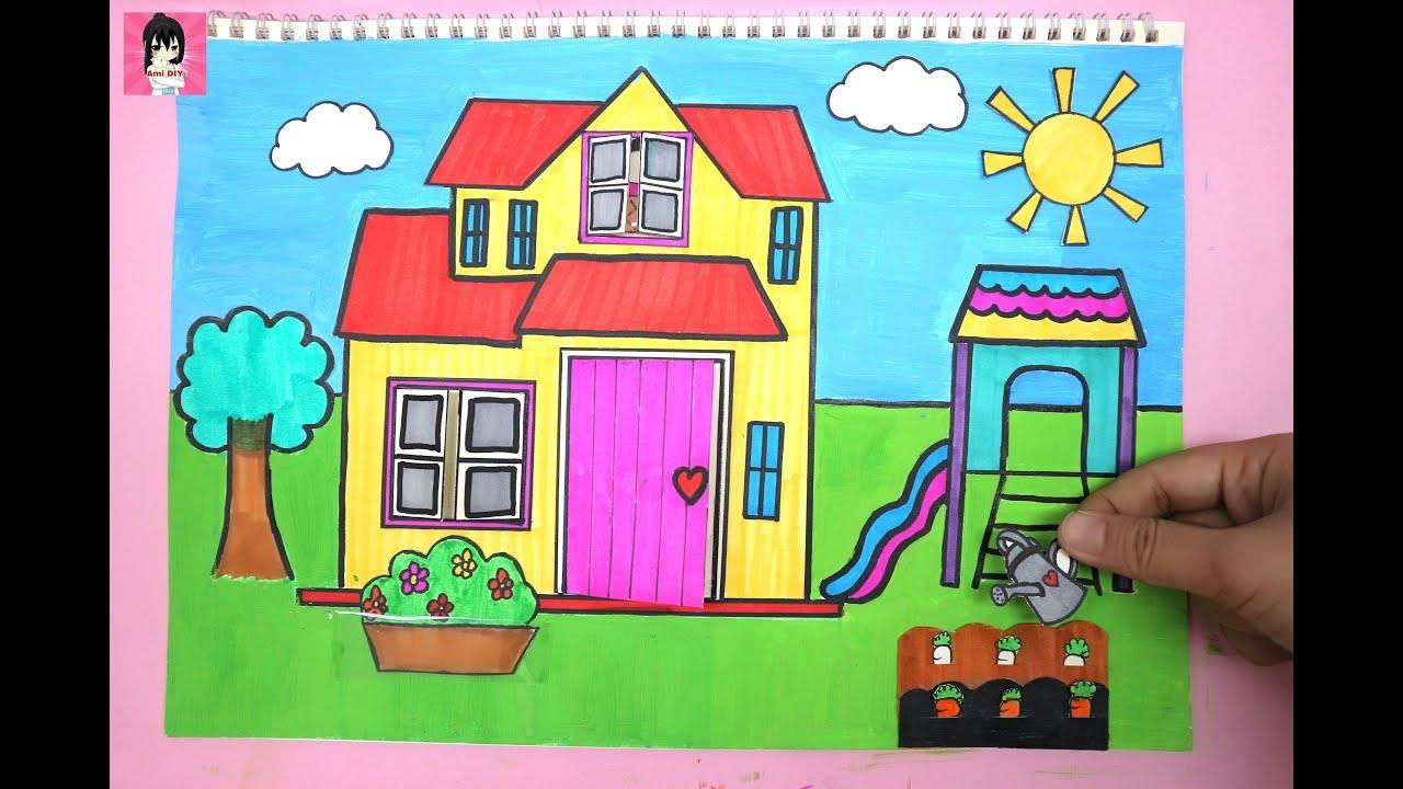 Cách làm ngôi nhà búp bê bằng giấy #1/ handmade PAPER QUEITBOOK for kids / Ami DIY