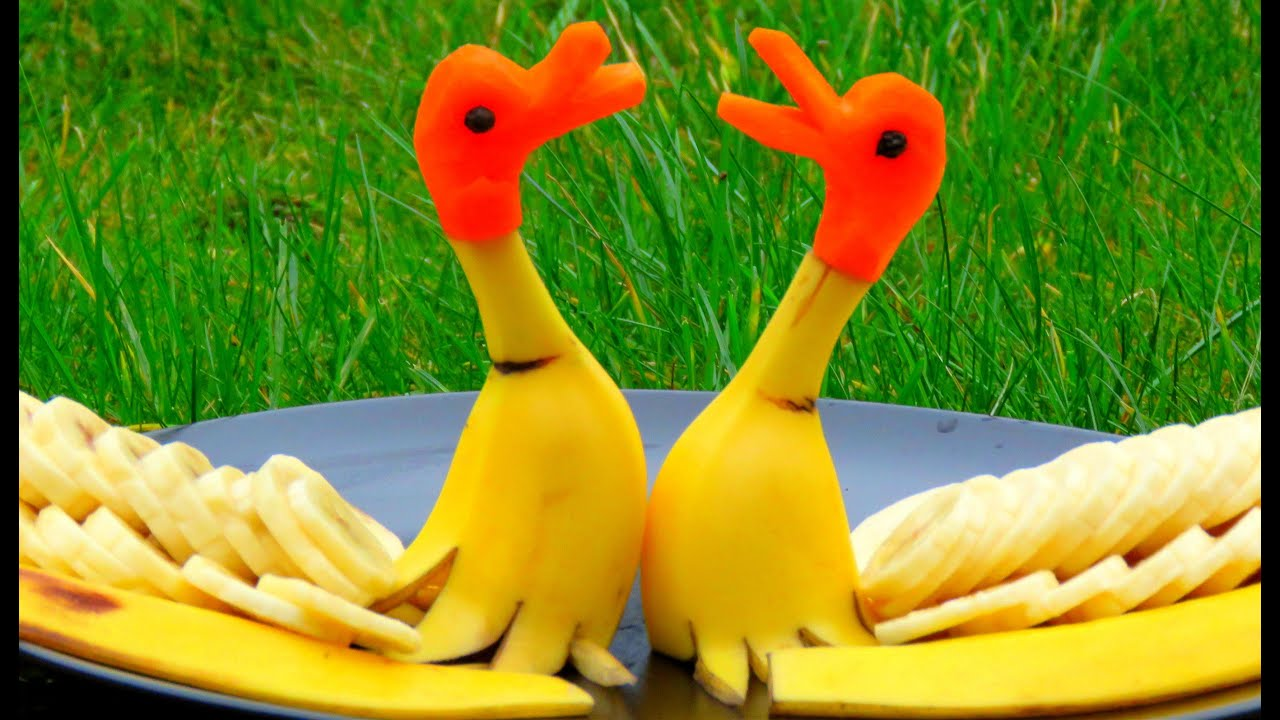 Vegetable carving step by step procedure - Step By Step How It S Made Banana Rubber Ducks Banana Art Fruit Carving Banana Decoration Youtube