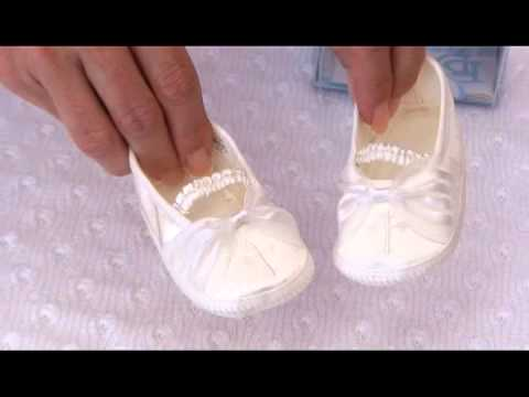 Free Crochet Patterns For Baby Converse Shoes : Girls Christening Shoes Infant Ivory Satin Organza Baby ...