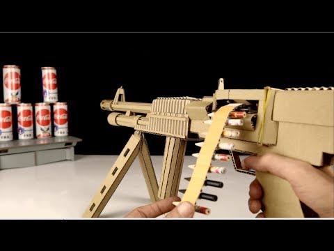 How to Make Cardboard Machine Gun Model (M60 E6) That Shoots