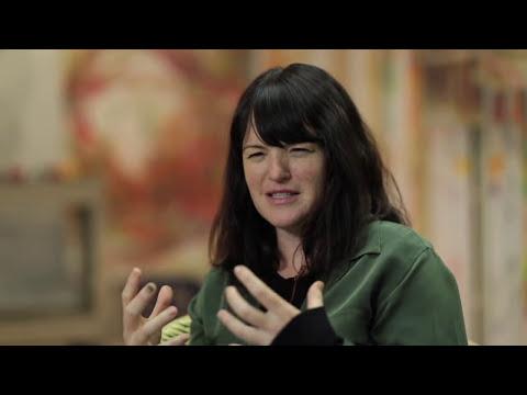 Artist Fiona Lowry in her studio
