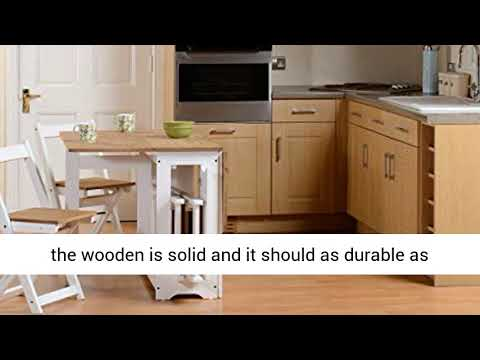 Drop Leaf Dining Table 4 Chairs Extendable Extending Wooden Furniture Small Space Saving Breakfast Youtube