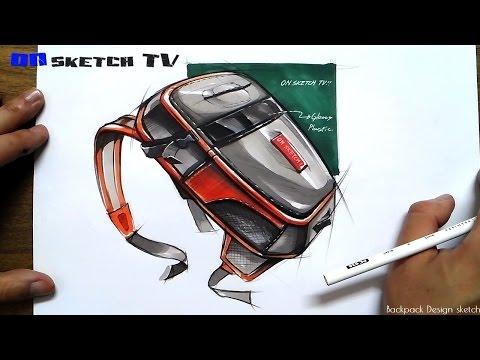 """온스케치 TV Product Sketch - """"Backpack design sketch(Color Pencil+Shinhan Touch Marker)"""""""