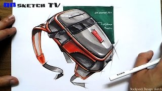 "온스케치 TV Product Sketch - ""Backpack design sketch(Color Pencil+Shinhan Touch Marker)"""