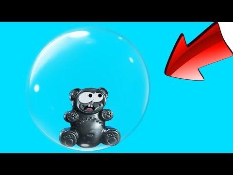 Lucky Bär gefangen in einem riesigen Luftballon