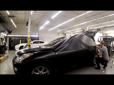 Real Time Full Side Vinyl Wrap Satin Black Infiniti QX50 (no talking)