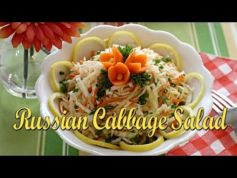 Russian Pickled Cabbage Salad with Apple and Carrot.