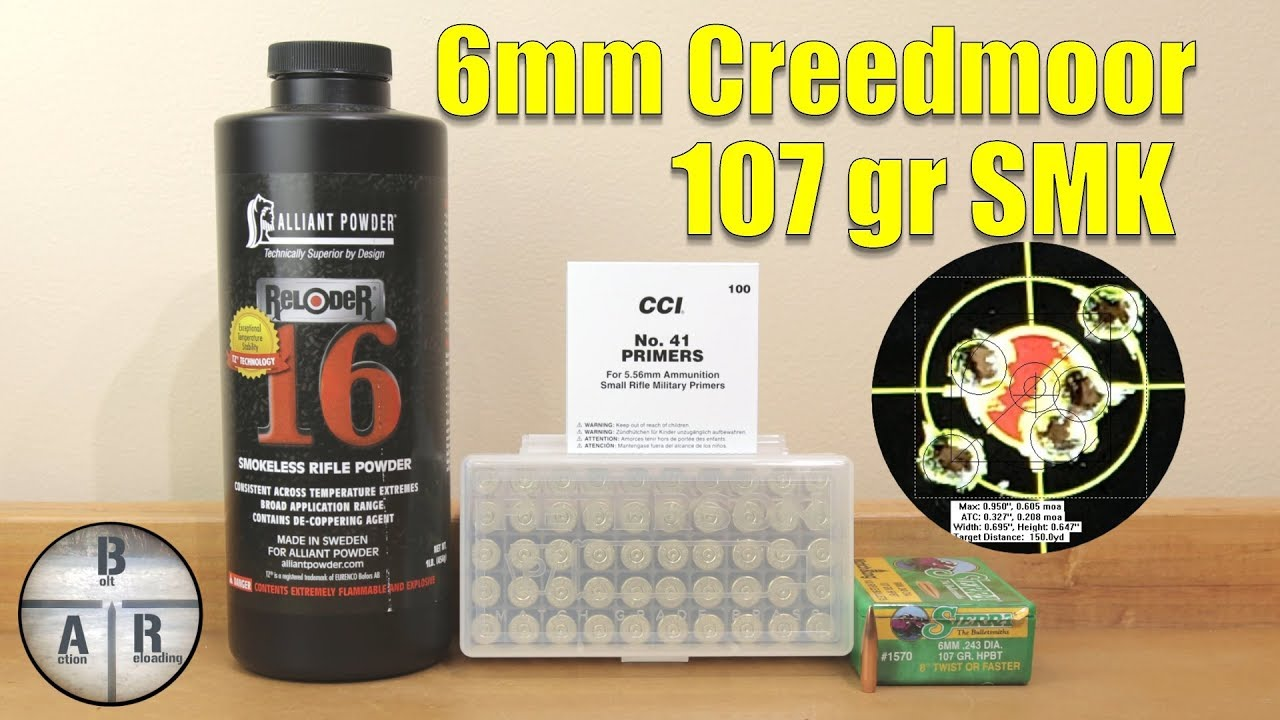 6mm creedmoor - 107 gr Sierra Matchking with Reloder 16 load development