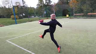 Dribbling with rugby ball