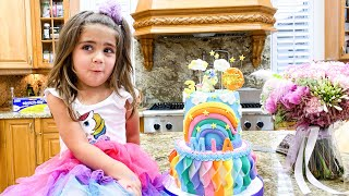Nastya and Artem Birthday Mia 3 years - birthday surprises and sweets!