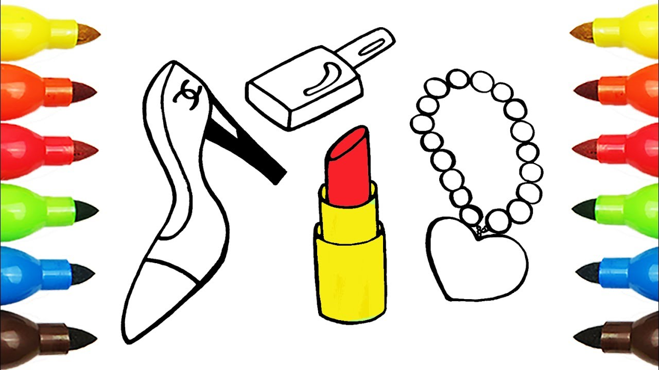 How to Draw Accessories for Girls | Coloring Shoes, Lipstick | Coloring  Pages for Kids