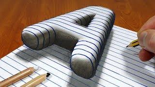 3D Trick Art On Line Paper, Floating Letter A