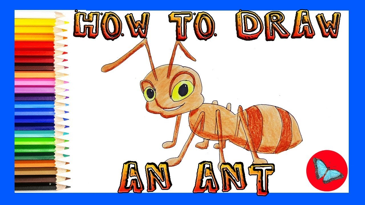 How to draw an ant coloring and drawing for kids