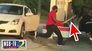 Wild: Machete-swinging driver stalks victim at gas station!