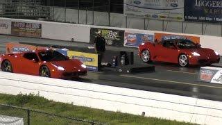 2014 Ferrari 458 Spider vs 2008 Ferrari 430 Spider 1/4 Mile Drag Racing