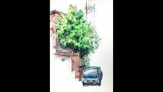 어반스케치-나무와 집 …