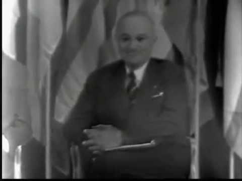 President Truman makes first coast to coast TV broadcast
