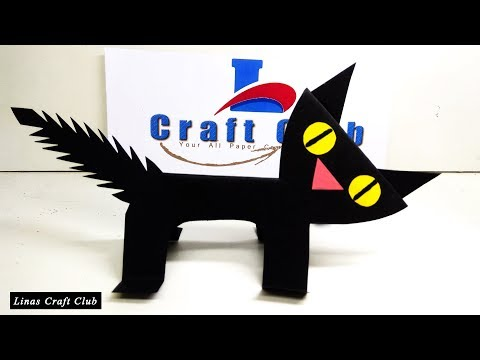 Black Cat Paper Craft for Kids | Halloween Paper Cat Craft | linascraftclub