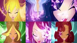 Download Winx Club All The Transformations In Split Screen HD! | Bloom Peters MP3 song and Music Video
