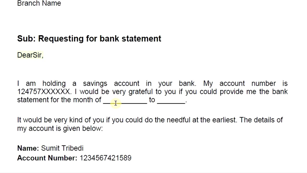 letter asking bank statement