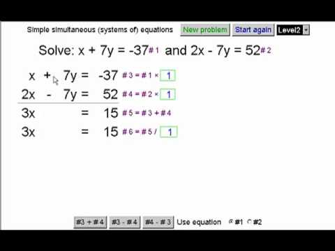 Simultaneous Linear Systems Of Equations In Two