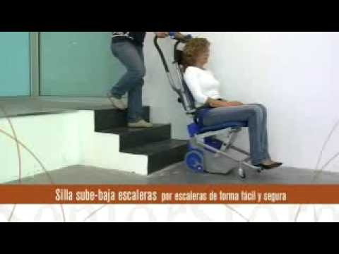 Silla salva escaleras el ctrica youtube for Silla ruedas sube escaleras