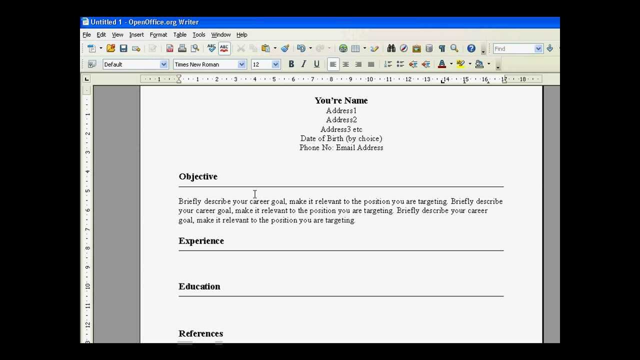 Create A Resume In Open Office YouTube – Resume Format Open Office