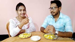 खट्टा आम (Green Mango) Eating Challenge | husband vs wife eating competition | Indian Girl Chumki