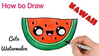 How to Draw a Watermelon cartoon and cute super easy.