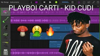 How to make PLAYBOI CARTI - KID CUDI on GarageBand iOS // sampling tutorial