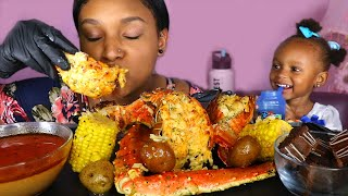 HUGE LOBSTER TAIL & KING CRAB LEGS CAJUN SEAFOOD BOIL MUKBANG EATING SHOW 먹방 | QUEEN BEAST FT LAYLA