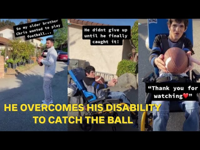 Chris overcomes his disability to catch the football with his brother Anthony