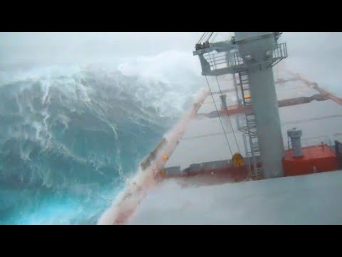Ship in Storm   INSANE Bulk Carrier Hit by TYPHOON in North China (Storm Force 12)!