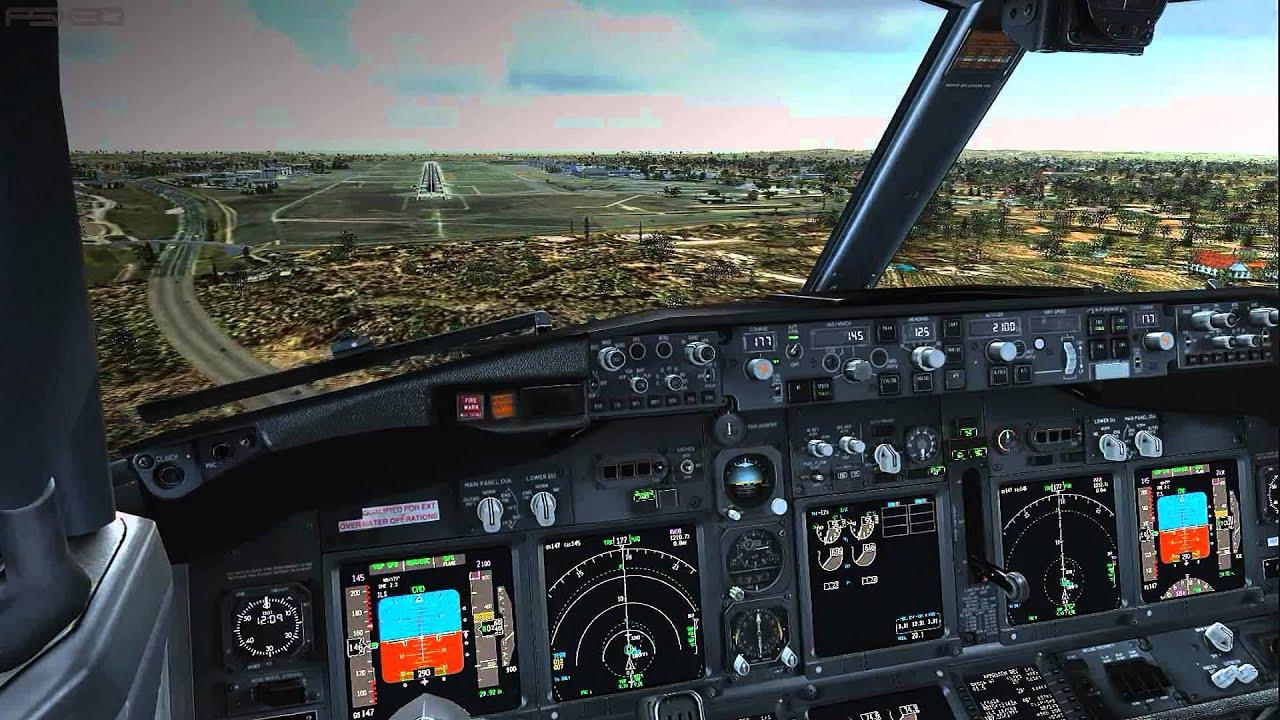 Fsx Wallpaper Hd Pmdg 737 800 Ngx Landing Ils 18 Garons Navy Cockpit View