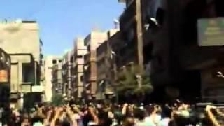 مخيم اليرموك 13-7-2012 علم الثورة فوق جامع فلسطين
