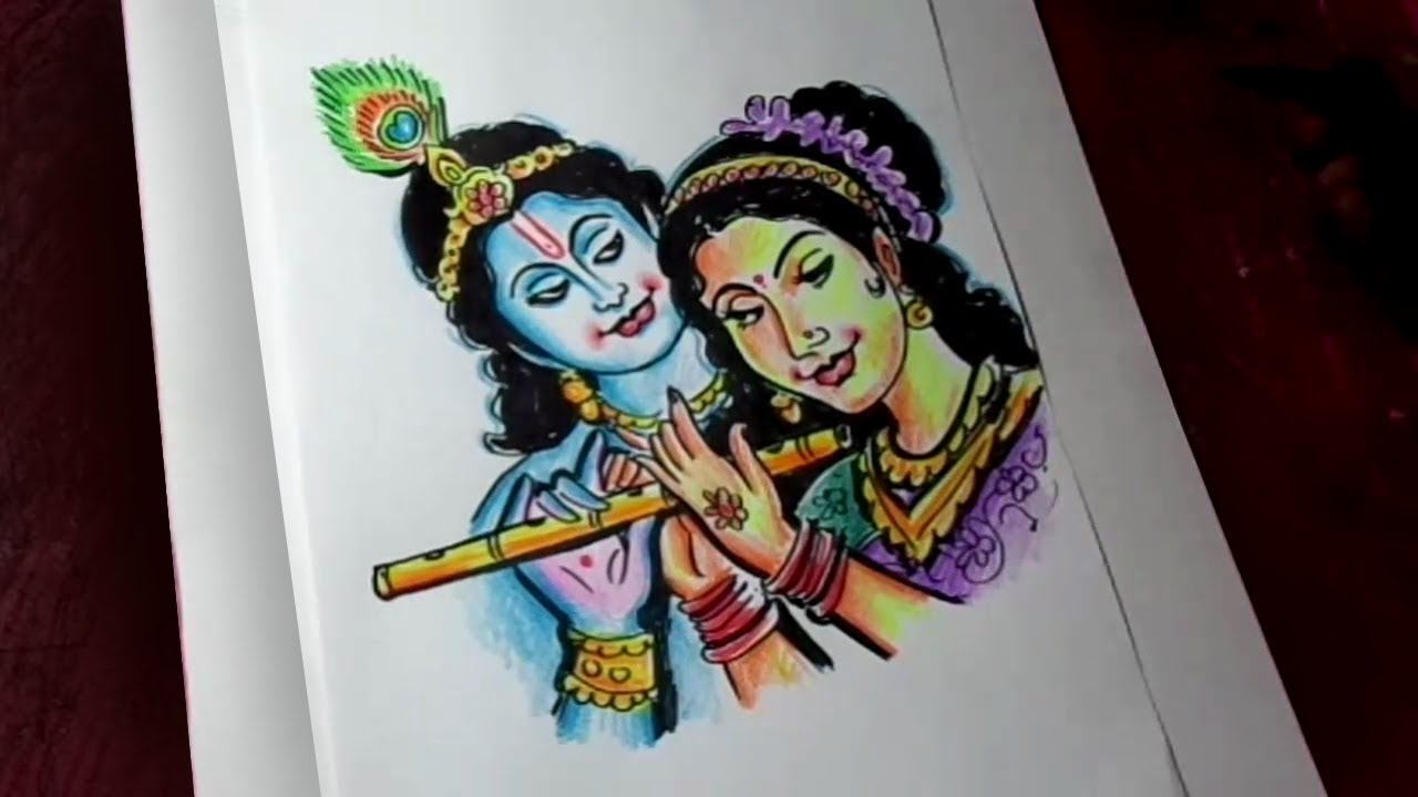 How To Draw Lord Krishna And Radha Color Drawing Youtube