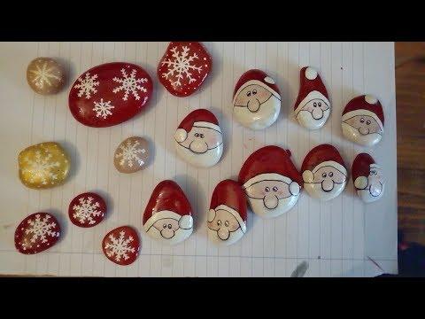 Sassi Decorati Natalizi- Babbo Natale E Fiocco Di Neve