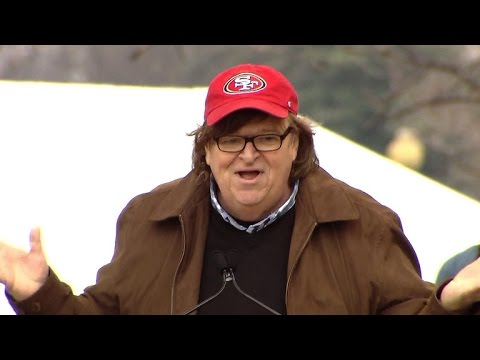 Michael Moore speaks at Women's March on Washington