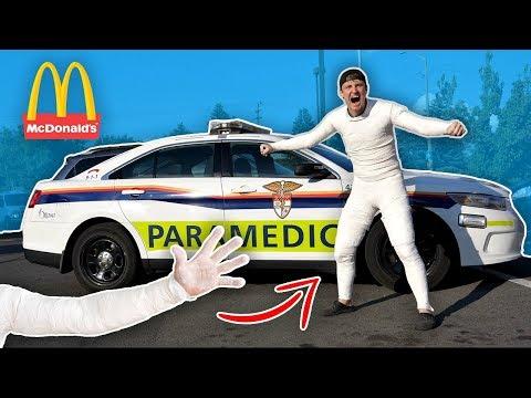 UNBREAKABLE FULL BODY CAST IN PUBLIC!! (McDonald's)