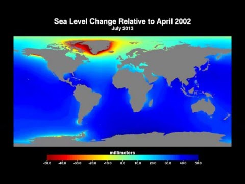 Cumulative sea level change since April 2002