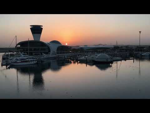 February morning in abu dhabi uae. Yas viceroy overlooking Yas Marina