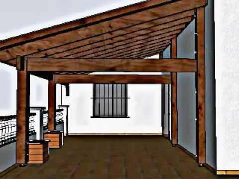 Dise o de porche de madera en una terraza en llli a de for Cobertizo de madera ideas de disenos