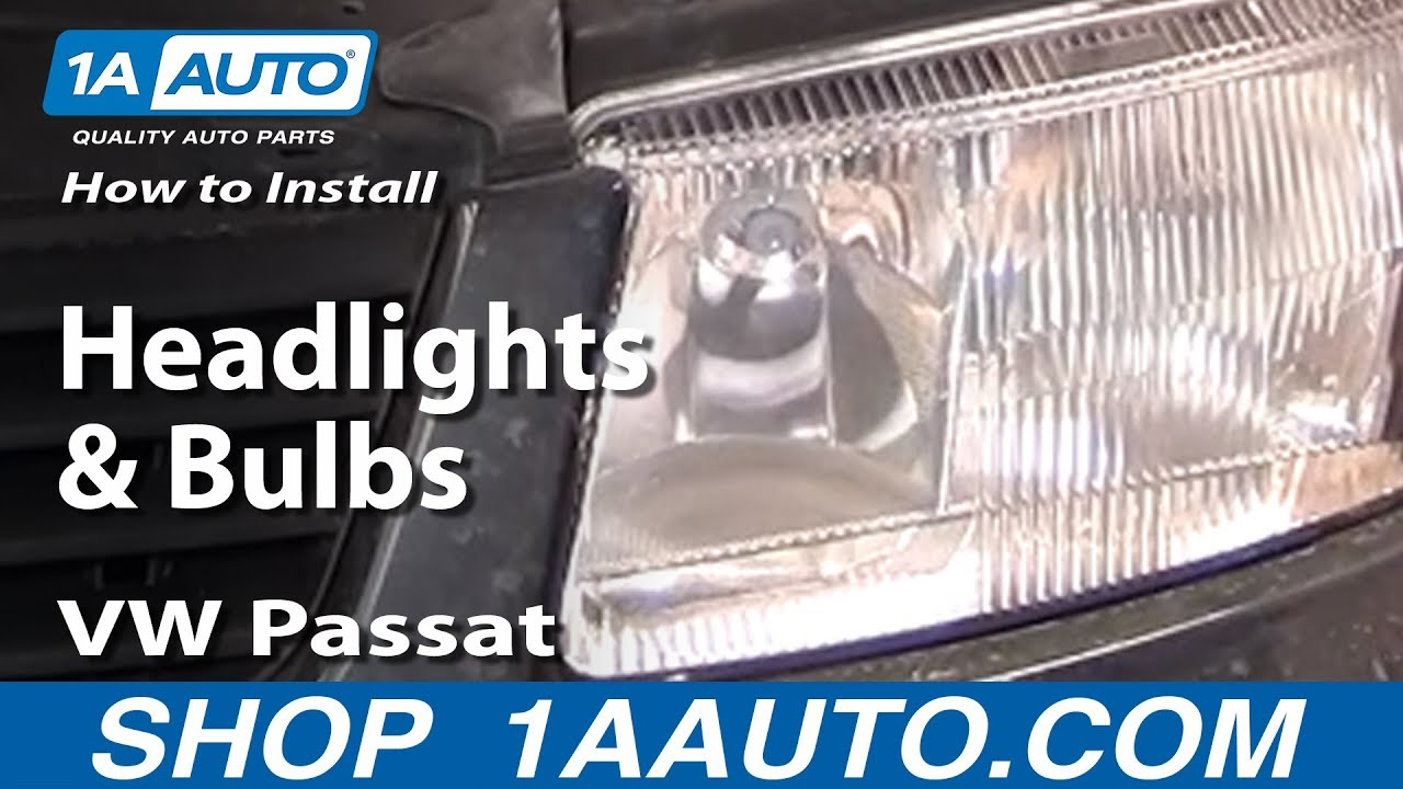 how to install replace headlights and bulbs 98 01 vw passat 1aauto com [ 1280 x 720 Pixel ]