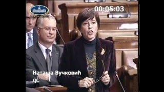 Nataša Vučković na sednici Skupštine o razrešenju ministra odbrane Bratislava Gašića
