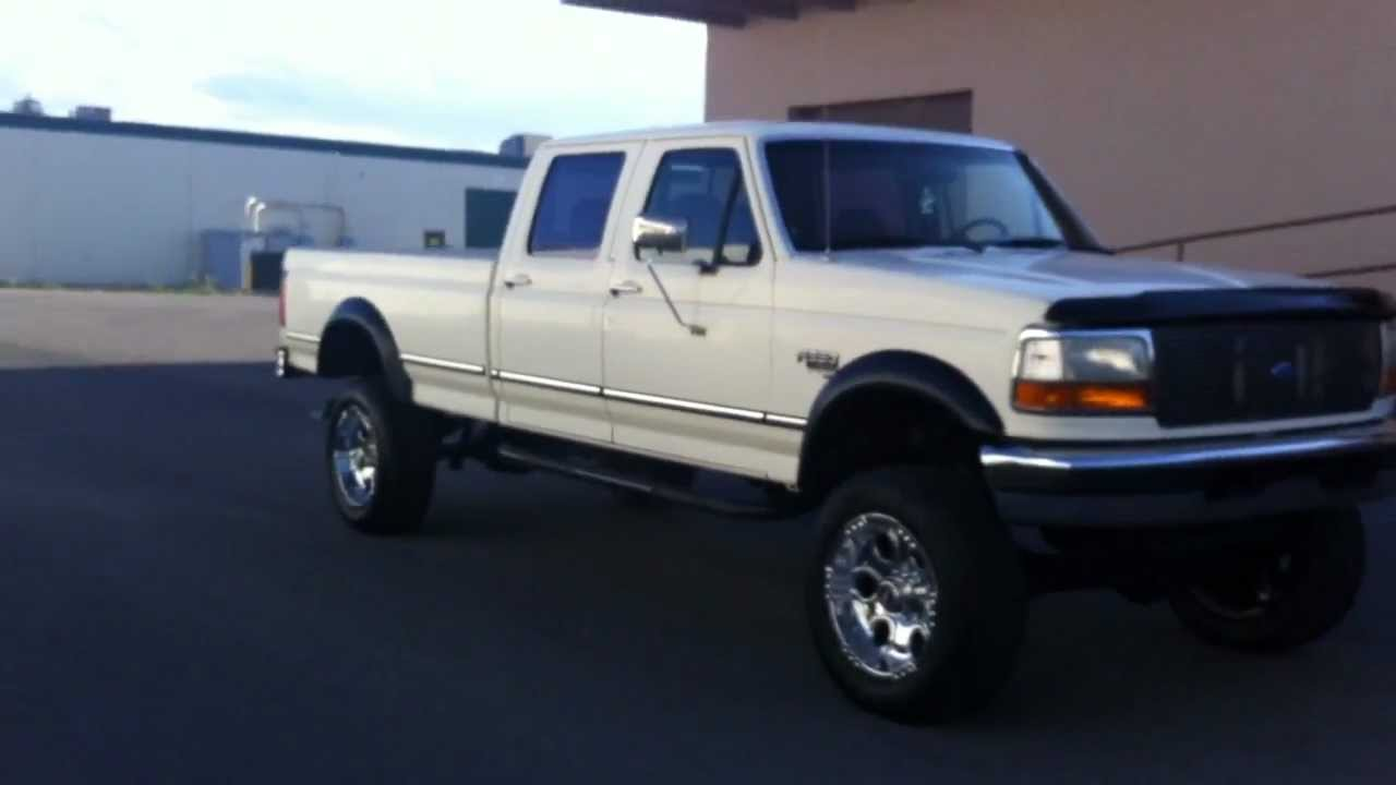 clean lifted 1995 ford f350 crew cab 4x4 xlt longbed 7 3 powerstroke turbo diesel youtube [ 1280 x 720 Pixel ]
