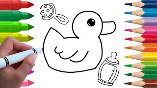 How to Draw Rubber Duck Coloring for Kids Learn Colors Animation Drawing Videos for Kids