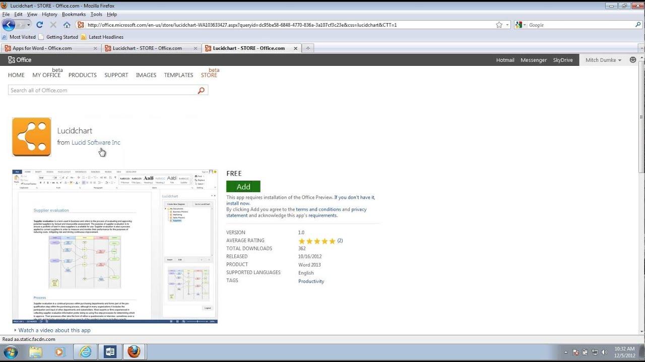Microsoft Office 2013 and Lucidchart