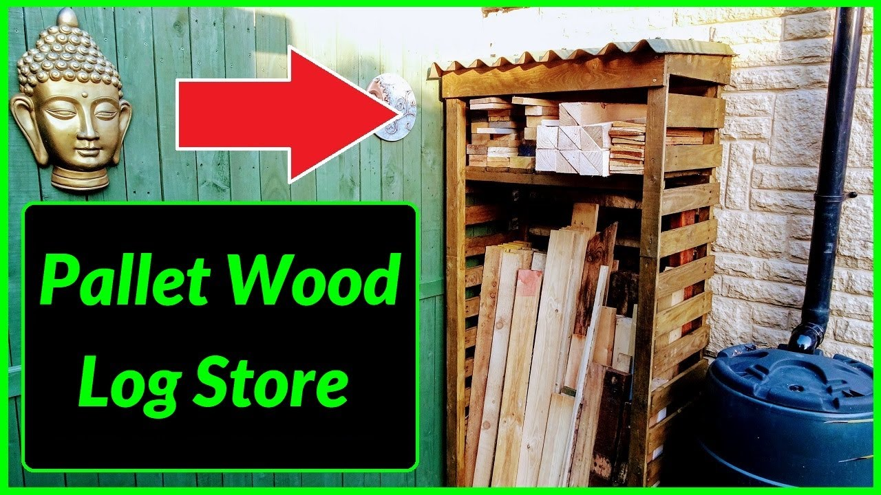 How to make a Log Store / Wood Store out of Free Pallet ...