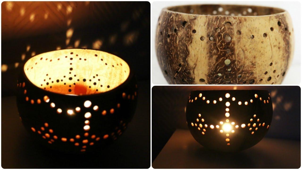 Kerzenhalter Aus Kokosnussschale Diy Coconut Candleholder
